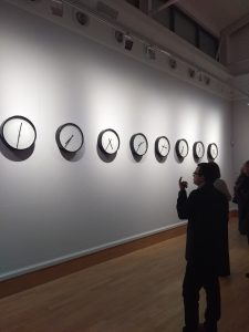 The team helped to install Katie Paterson's, Timepieces (Solar System) by plugging in the batteries.