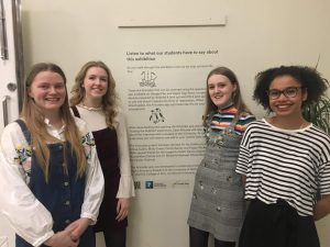 left to right, Cecily Rainey, Molly Evans, Poppy Wickenden and Chloe Austin at the private view of Scaling the Sublime: Art at the Limits of Landscape.