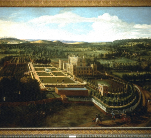 Oil painting of Wollaton Hall and Park, Nottinghamshire, by Jan Siberechts, 1697