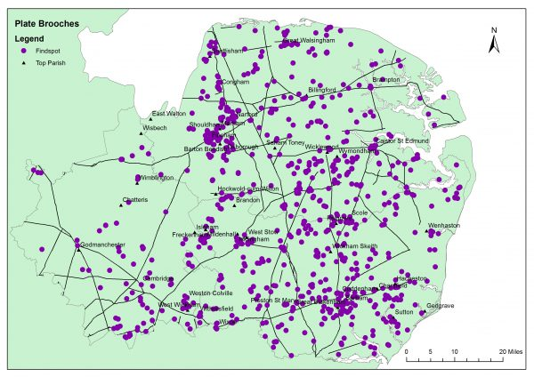Map showing Distribution of Romano-British plate brooches in East Anglia. Map contains OS data © Crown Copyright and Database Right (2017) Ordnance Survey (Digimap/Opendata Licence).