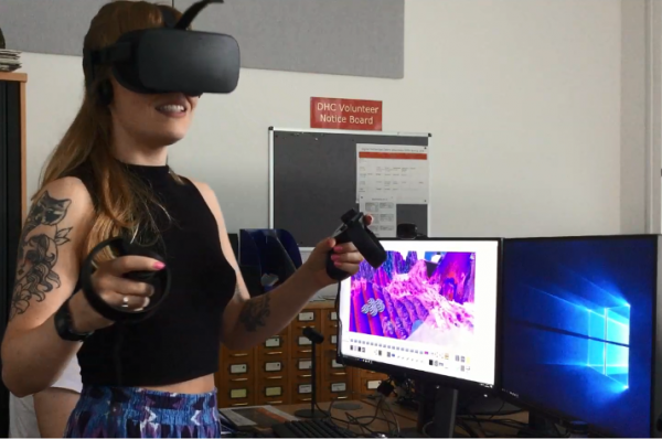 Aja Ireland tests the VR environment using the Oculus Rift.