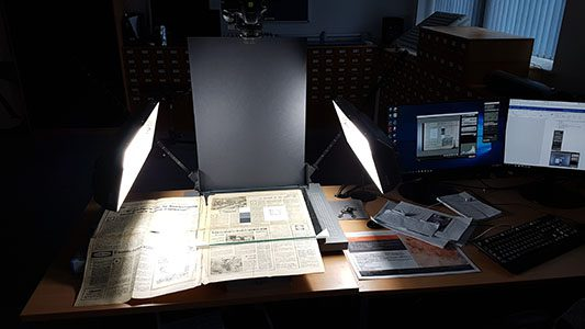 Hennessy digitisation project set-up: copy stand and camera in the DTH