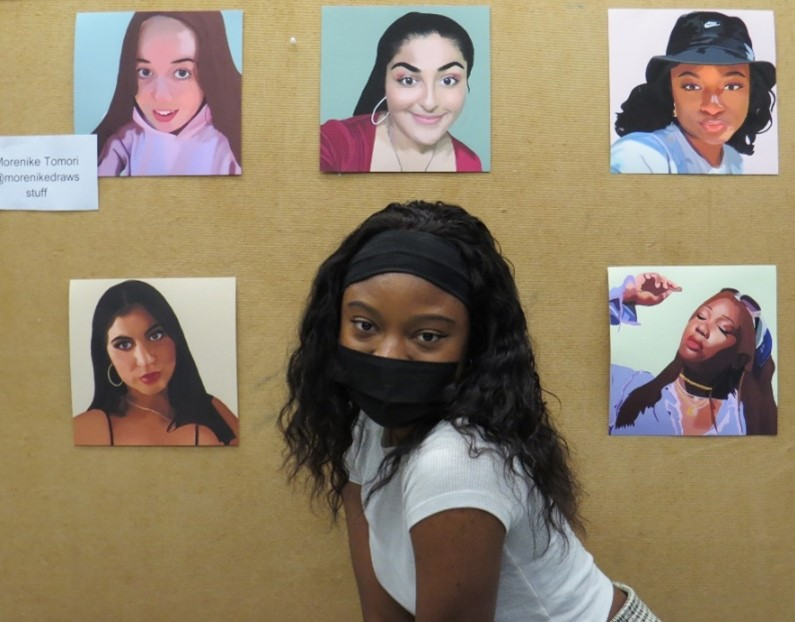 A photograph of Morenike Tomori and some examples of her inclusive artwork