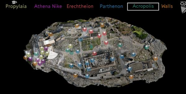 Screenshot of a virtual map of the Acropolis