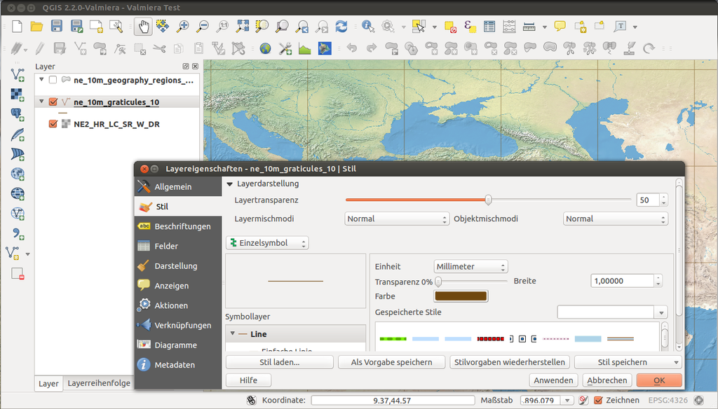 an image of a map open in mapping software, with a menu overlaying it