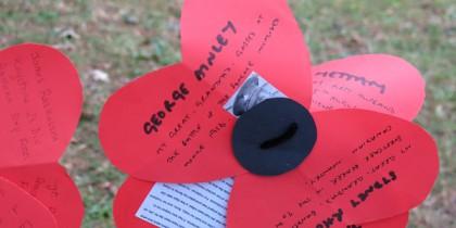 Paper poppy (crop) Life Lines final event, 8th Aug 2014. Photo Charlotte Pratley.