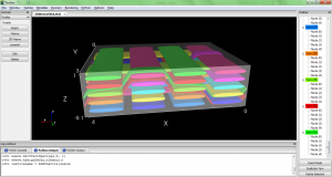 A screenshot of TexGen's GUI showing a representation of 3D structure in an advanced textile.