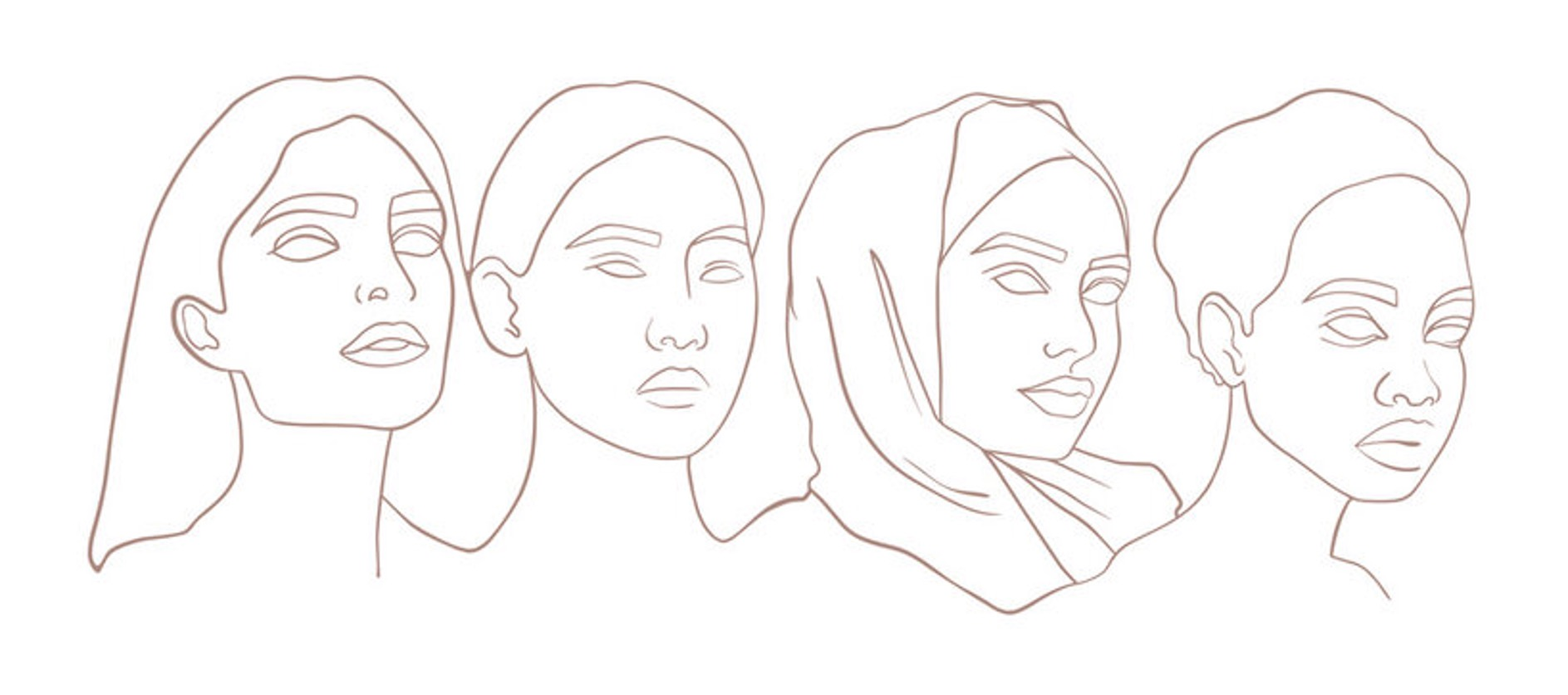 fine line outline of 4 women of different backgrounds
