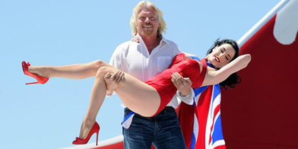 Richard Branson and Dita Von Teese