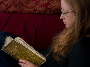 Lynn reading a mythology book