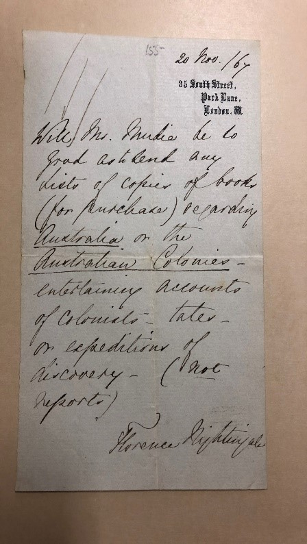 November 20, 1867, The Rare Book & Manuscript Library, University of Illinois at Urbana-Champaign, Charles E. Mudie Papers, MSS 00042.