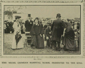 Photo from 1906 newspaper of Ann Milne being presented to King Edward VIIMrs Milne