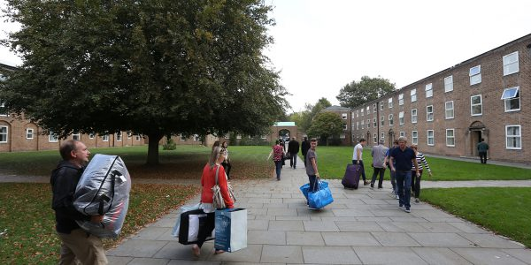students walking to their hall