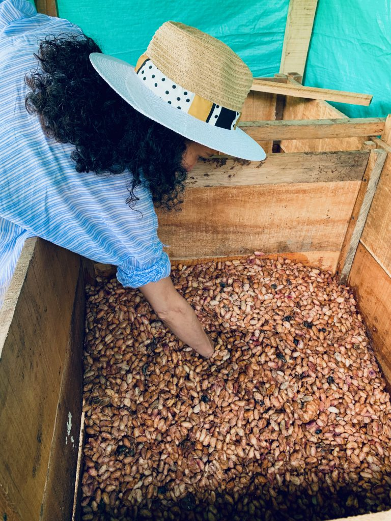 Luisa, wearing hat and shirt, has her hand in the fermenting cacao beans