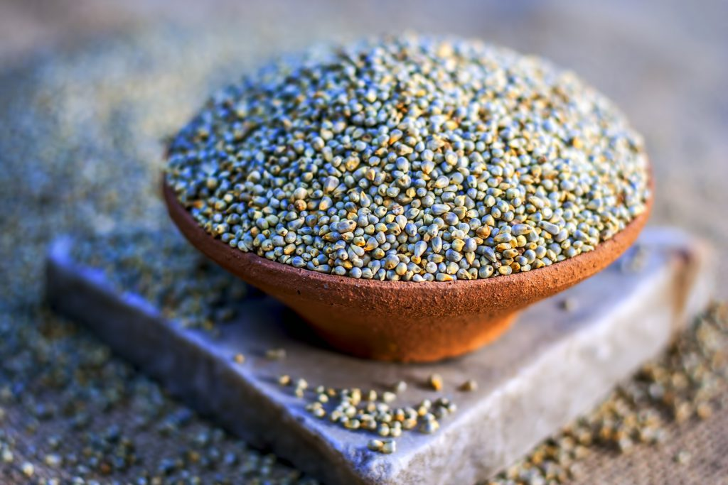 A bowl filled with pearl millet