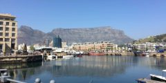 A picture of Cape Town's iconic Table Mountain, taken from the Victoria & Albert Waterfront region