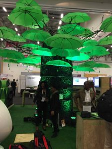 Photo 2. South African mining company's interesting display of green umbrellas signifying a tree.