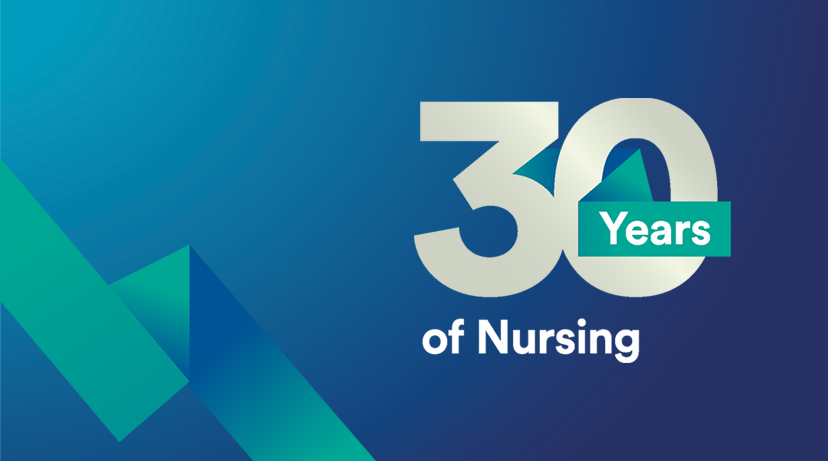 Blue banner image promoting 30 years of nursing