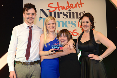 Anna Johnson celebrating her win as Student Nurse of the Year: Learning Disabilities 2018