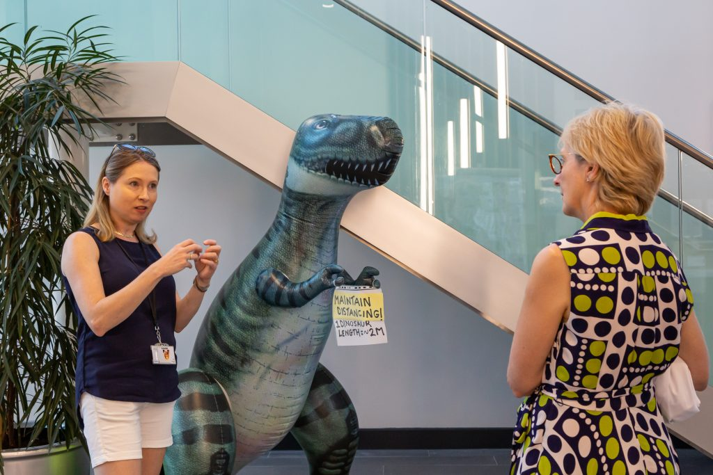 Dino the dinosaur reinforces social distancing messaging as Dr Ruth Griffin meets Dame Jessica
