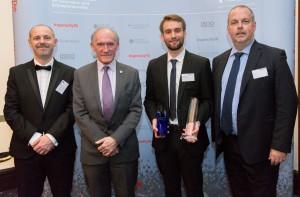 Johnny Pry with Vice-Chancellor Professor Sir David Greenaway and Professor Simon Mosey