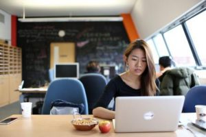 Jordana Chin hard at work in The Ingenuity Lab, jordana chin, nutri2go, roasted chickpeas, ingenuity lab, nottingham entrepreneurs, nottingham alumni, the ingenuity lab, food delivery nottingham