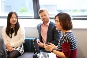 Lili Zhu (right) in a meeting with The Careers and Employability Service about placements, lili zhu, lian mask, graduates, nottingham alumni, nottingham entrepreneurs
