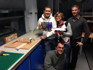 My team on the first day of the balsa aircraft competition: Alessio, Chris, Luca and I won a massive chocolate bar for being the fastest in building the airframe.