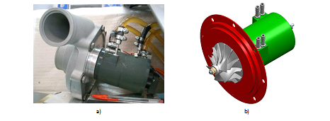 MALET: a) electrical motor coupled with compressor; b) 3D model of the motor