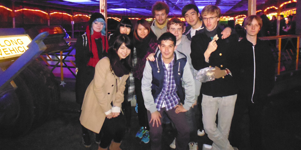 Miku (front and left) at an event with the Japanese Society