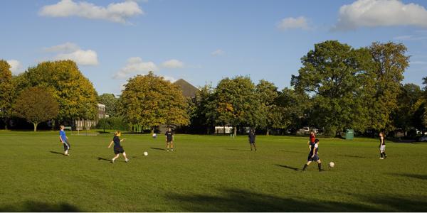 Women's football team training, University Park Campus