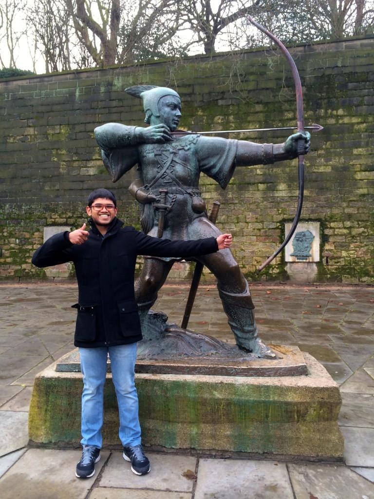 Posing next to Nottingham's legendary Robin Hood