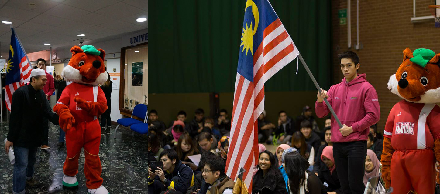 A flag-bearer and mascot at the Nottingham Malaysian Games, hosted by the Malaysian Society