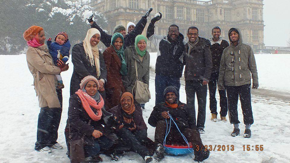 The Sudanese Nile Society enjoying British weather at Wollaton Park in Nottingham