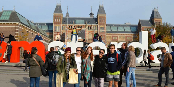 Lena with friends in Amsterdam