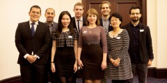 The University of Nottingham's 2014/15 Chevening scholars with Ira Pozon and James Farren