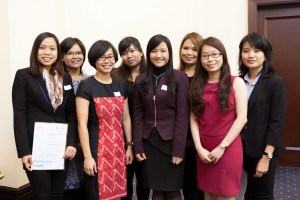 Lien Lien (left) at the scholarships celebration event