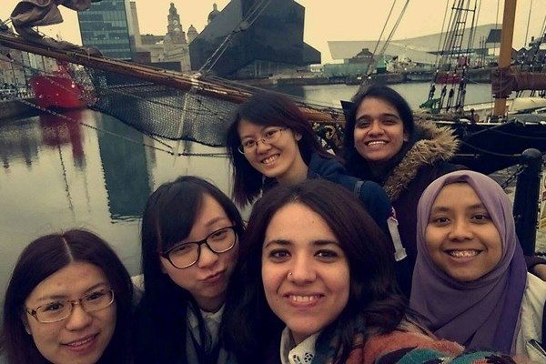 International students at Albert Dock