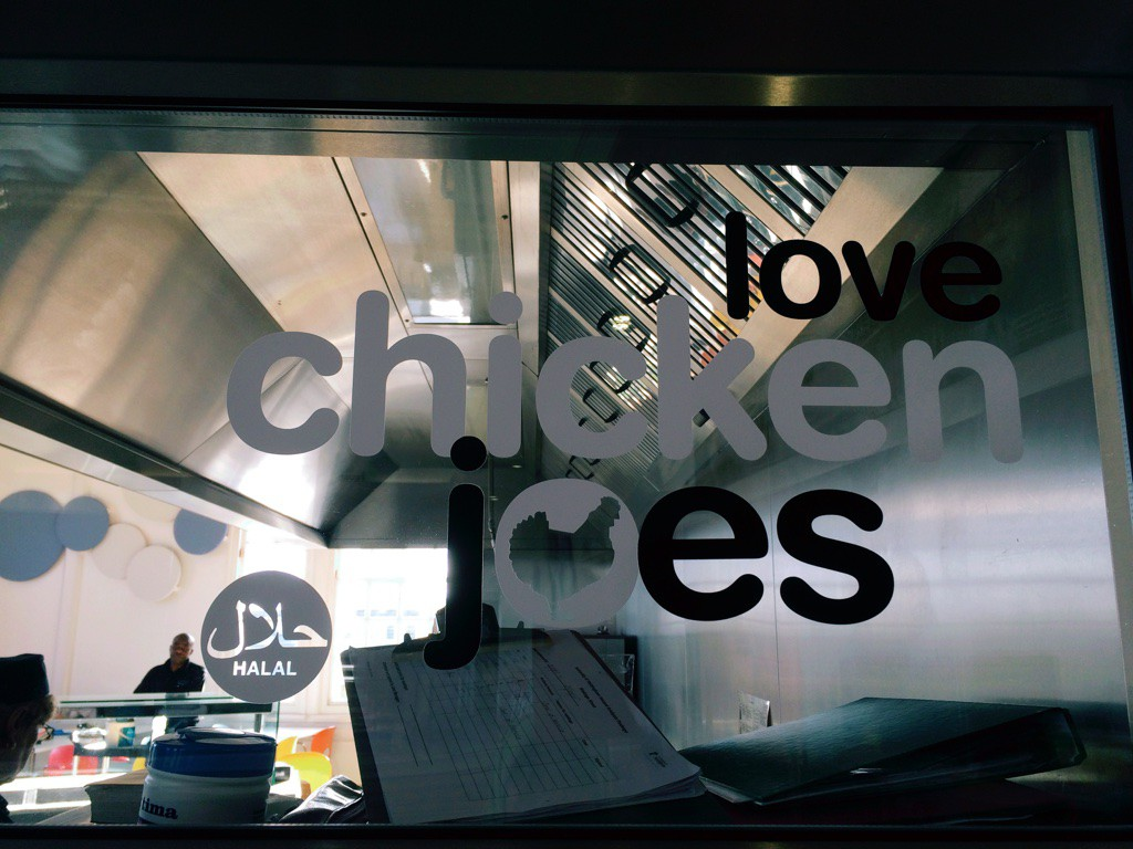 Love Chicken Joes in Portland building Food Court, offers range of wraps and fries.