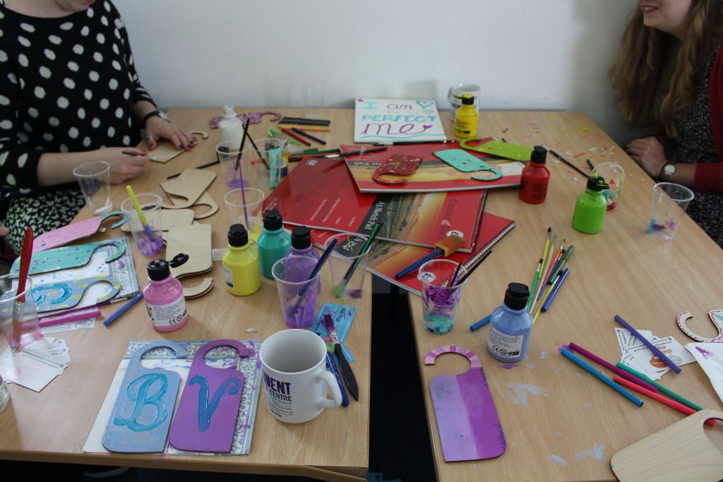 Crafts table with Nottingham Nightline and Student Minds