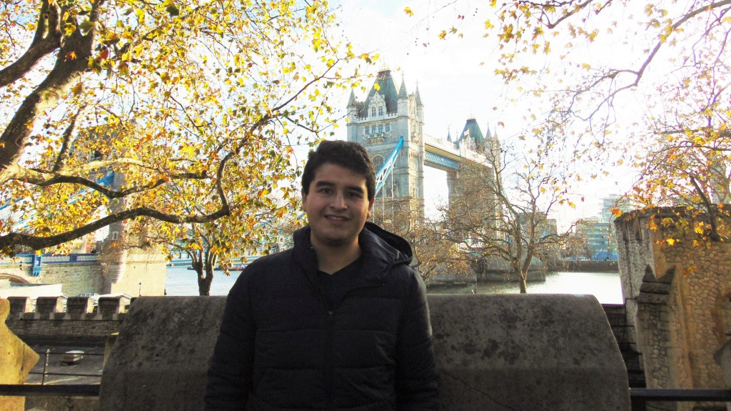Jorge in front of Tower Bridge on a recent weekend trip to London