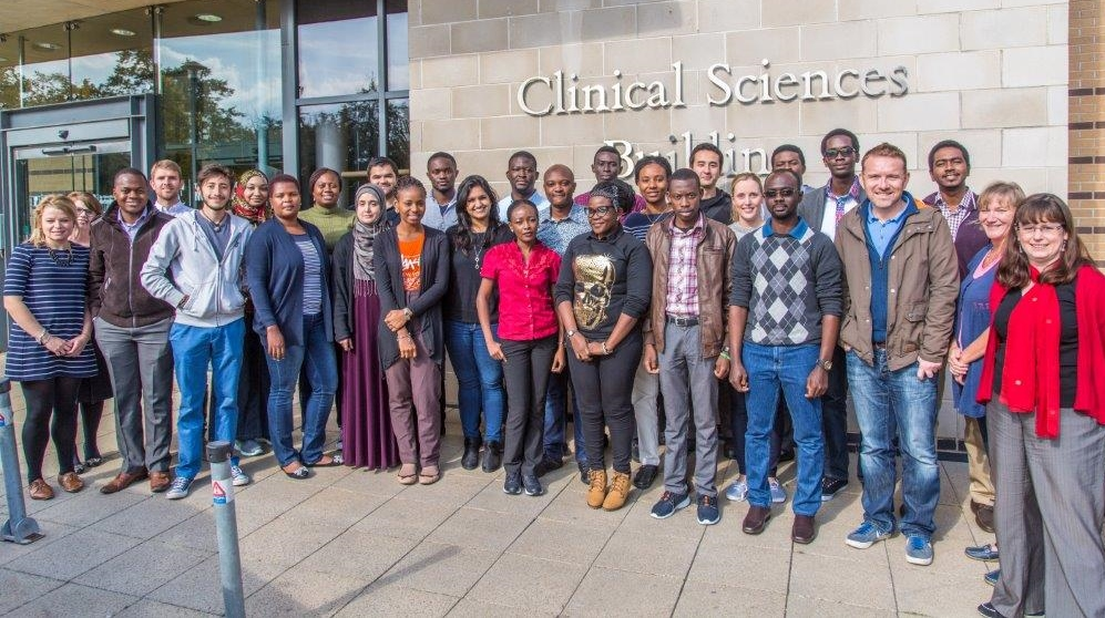 This year's MPH students, at the he Clinical Sciences Building, Nottingham City Hospital