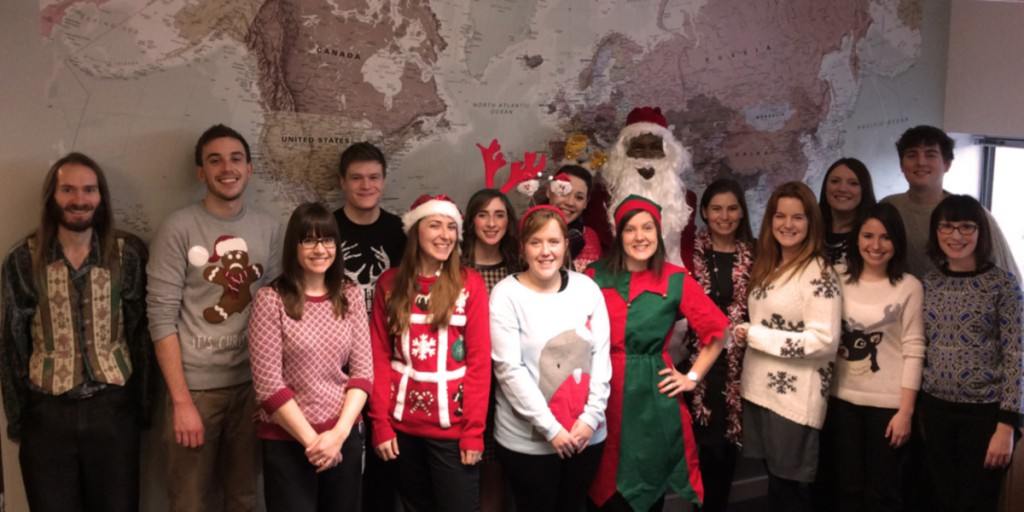 International Office staff celebrating the end of the year with a Christmas jumper day