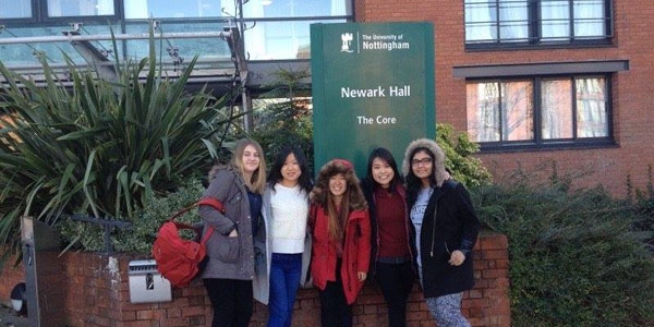 Eve (second from left) with friends on Jubilee Campus