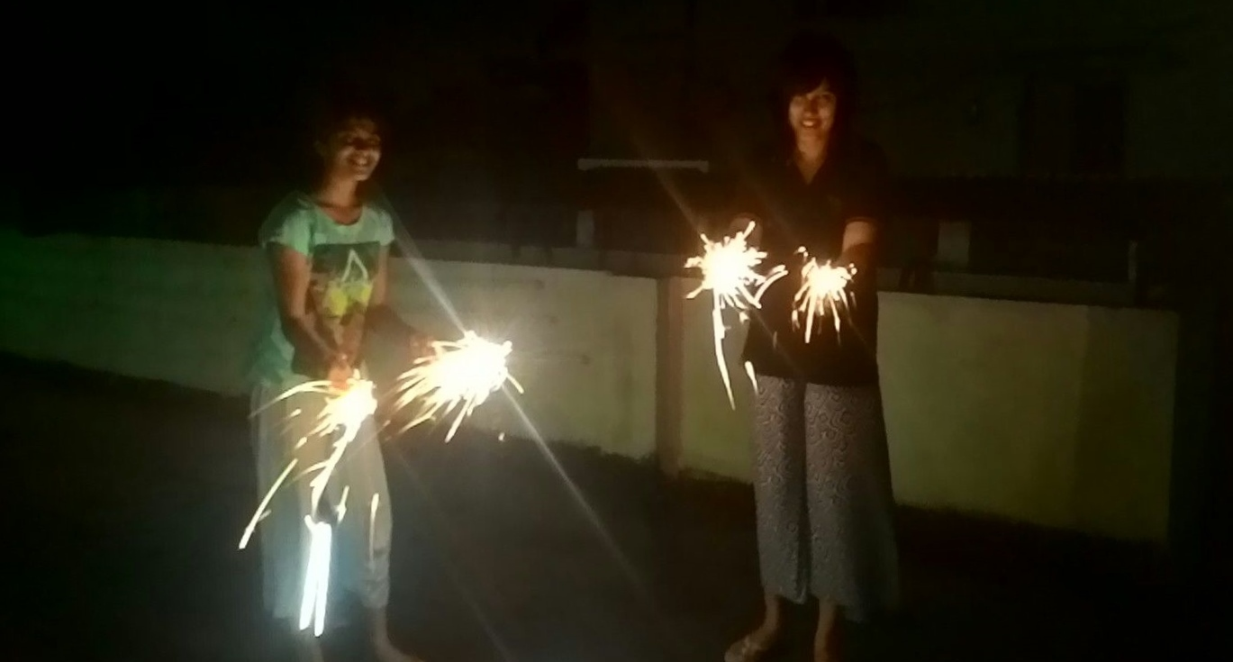 Celebrating Diwali with my little sister