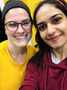 Faiza and her friend, a Lacrosse scholar from the United States