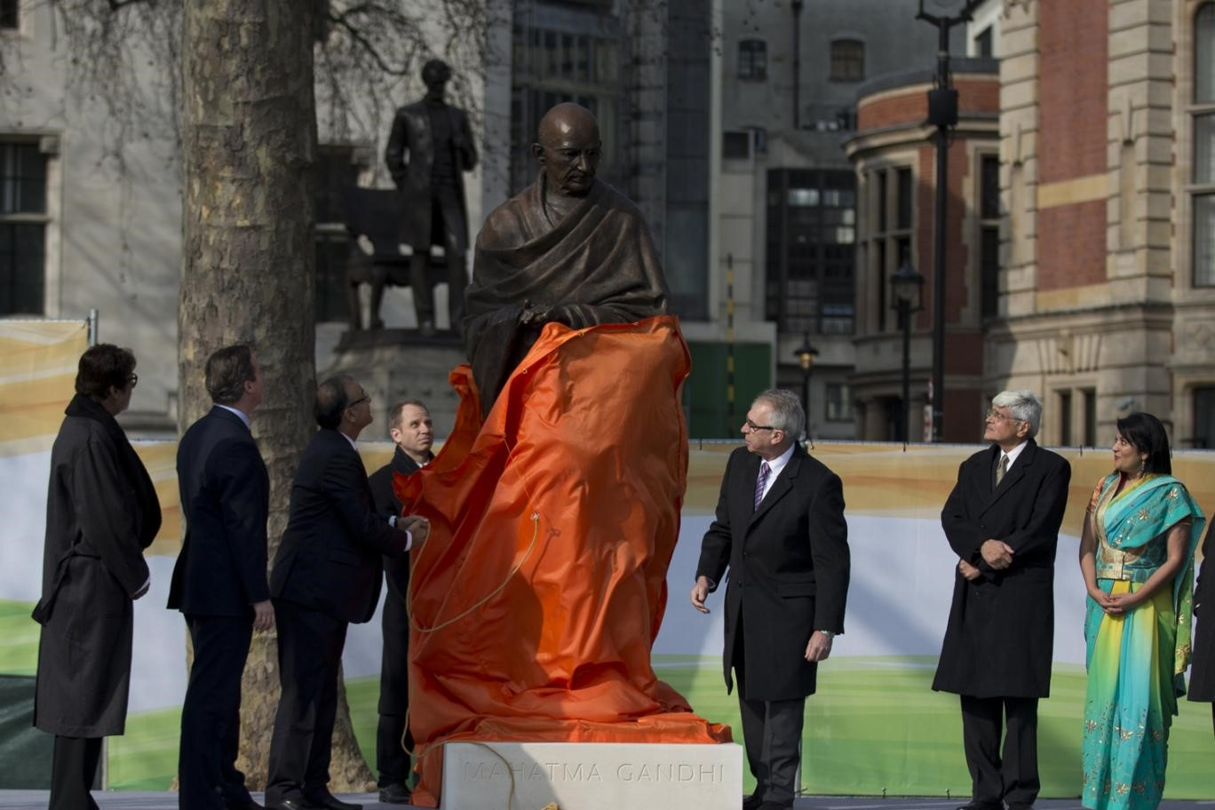 """Gandhi statue unveiled in Parliament Square, with PM David Cameron praising 'magnificent tribute to towering figure'"""