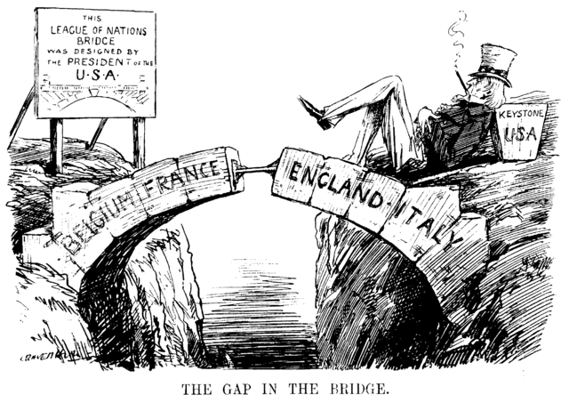 Cartoon about the absence of the USA from the League of Nations, depicted as the missing keystone of the arch, while Uncle Sam looks on, reclining and smoking a cigar
