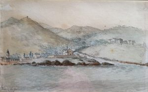 Watercolour by Charles Gore, depicting the Genoa waterfront from the sea