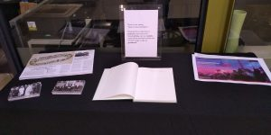 Display table with handouts and guestbook